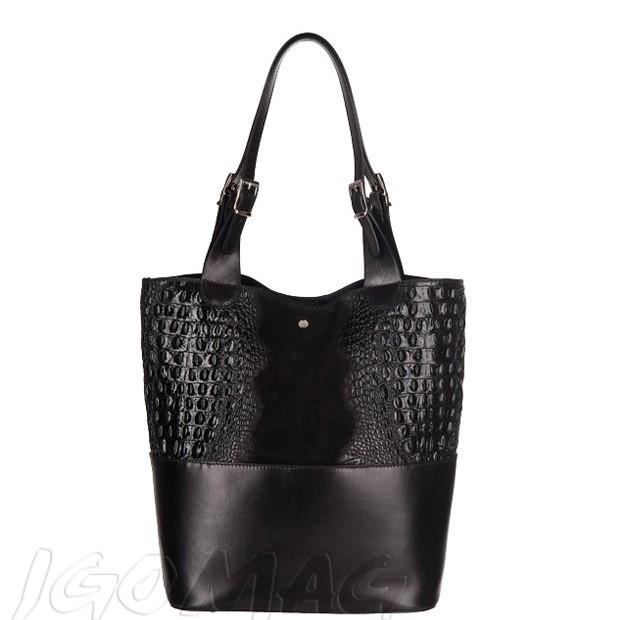 Włoska torebka shopper zamsz + krokodyl A4 czarna (2447)