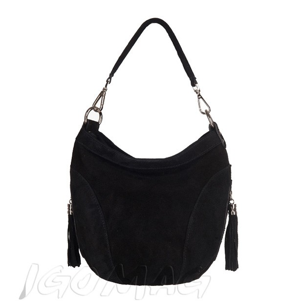 Włoska torebka worek zamsz naturalny czarna (TS-2450-01)