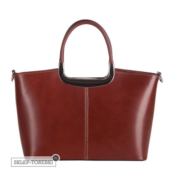 Klasyczna włoska skórzana torebka do ręki średnia brązowa (2483)