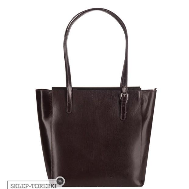 Włoska klasyczna torebka A4 ciemny brąz (2485)