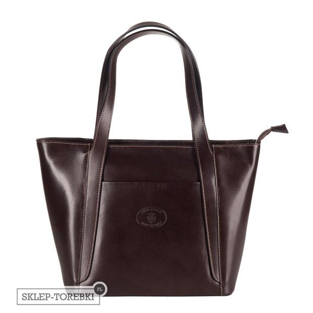 Vera Pelle - Włoska klasyczna torebka skórzana A4 ciemny brąz (2486)