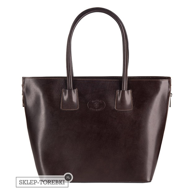 Włoska duża klasyczna torebka skórzana A4 ciemny brąz (2488)