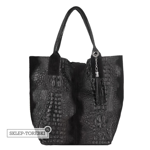 Włoska torebka worek A4 zamsz + krokodyl czarna (2495)