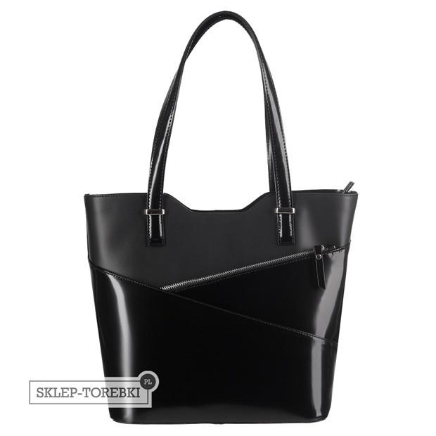 Włoska klasyczna torebka skórzana czarna (2496)