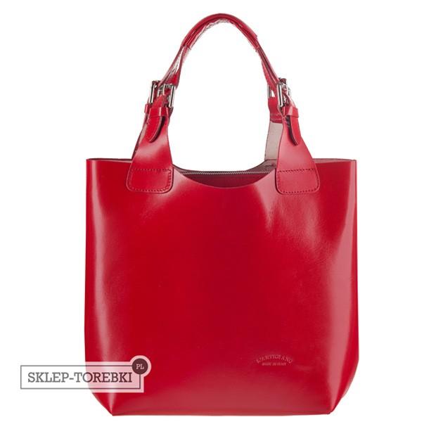 Włoska zgrabna torebka skórzana czerwona (2497)