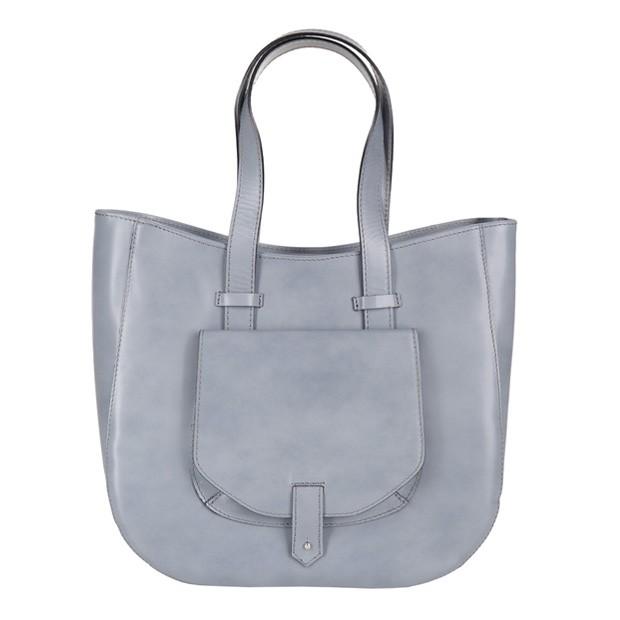 Włoska skórzana torebka typu shopper bag A4 szara (2541)