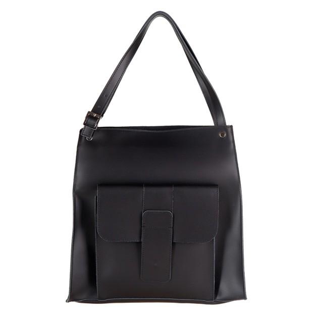 Włoska duża torebka shopper bag A4 matowa skóra czarna (2593)