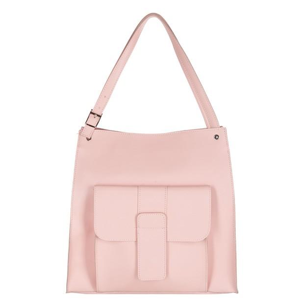 Włoska duża torebka shopper bag A4 matowa skóra jasnoróżowa (2595)