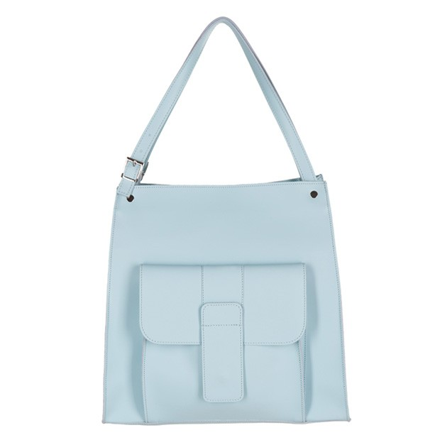 Włoska duża torebka shopper bag A4 matowa skóra błękitna (2596)