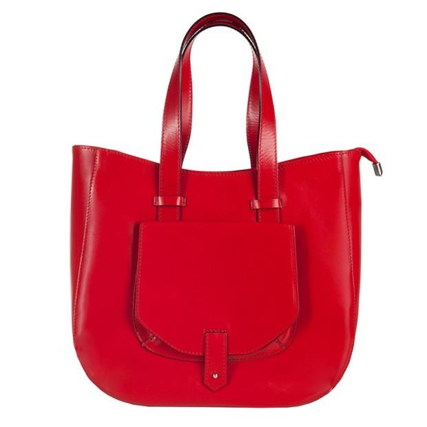 Włoska skórzana torebka typu shopper bag A4 czerwona (2644)