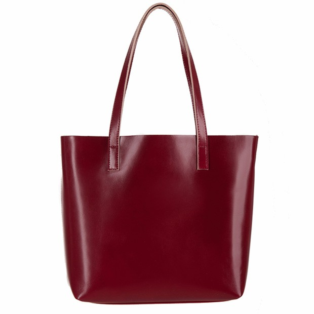 Włoska skórzana torebka shopper bag bordowa (2646)