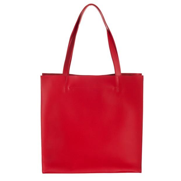 Włoska duża torebka shopper bag matowa skóra czerwona (2665)