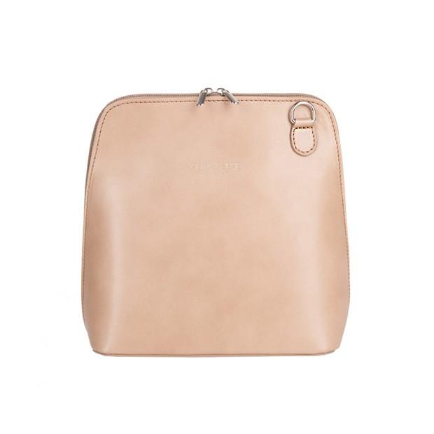 Vera Pelle - włoska torebka skórzana listonoszka beżowa (2670)