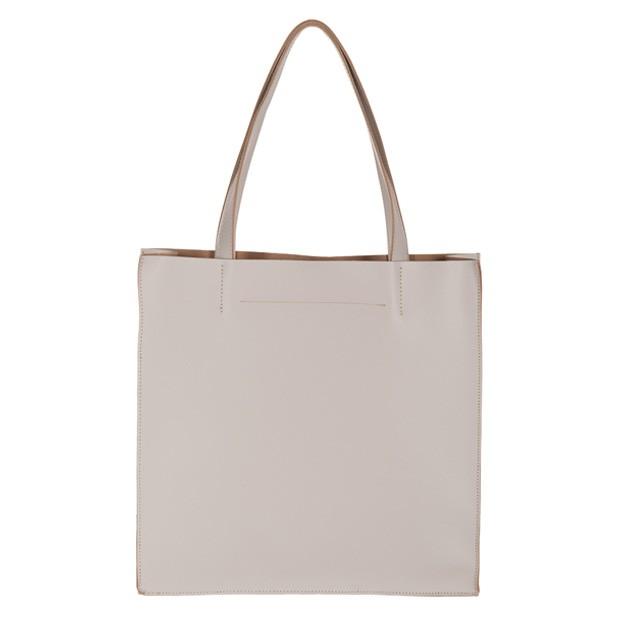 Włoska duża torebka shopper bag matowa skóra kremowa (2732)