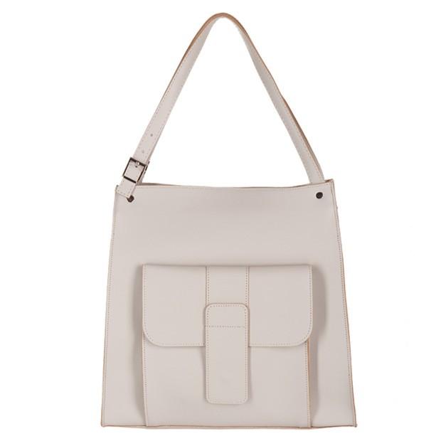 Włoska duża torebka shopper bag A4 matowa skóra kremowa (2733)
