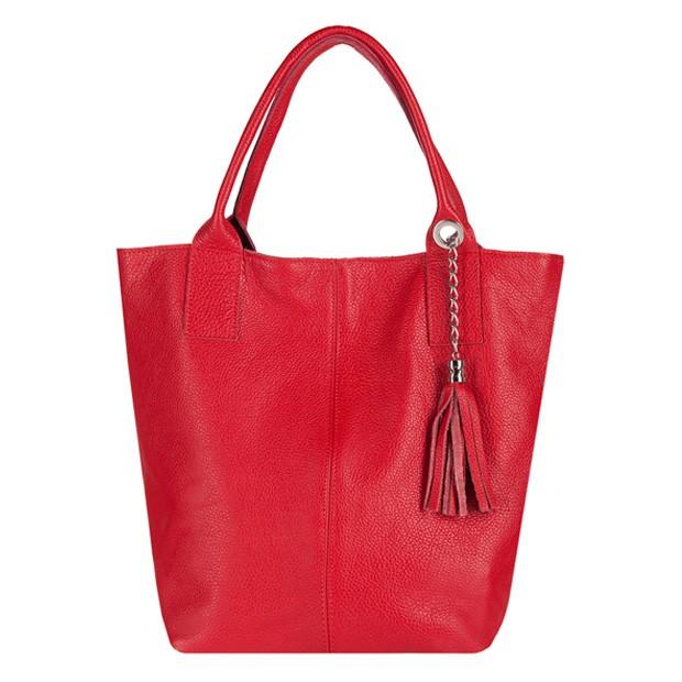 Włoska torebka worek A4 miękka skóra czerwona (2745)
