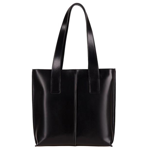 Włoska klasyczna torebka skórzana A4 czarna (2770)