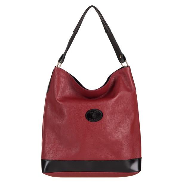 Vera Pelle - Włoska torebka worek A4 miękka skóra bordowa+czarny (2780)