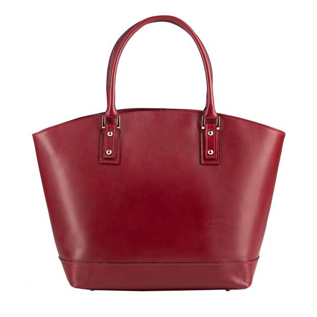 Włoska skórzana torebka typu shopper bag A4 bordowa (2801)