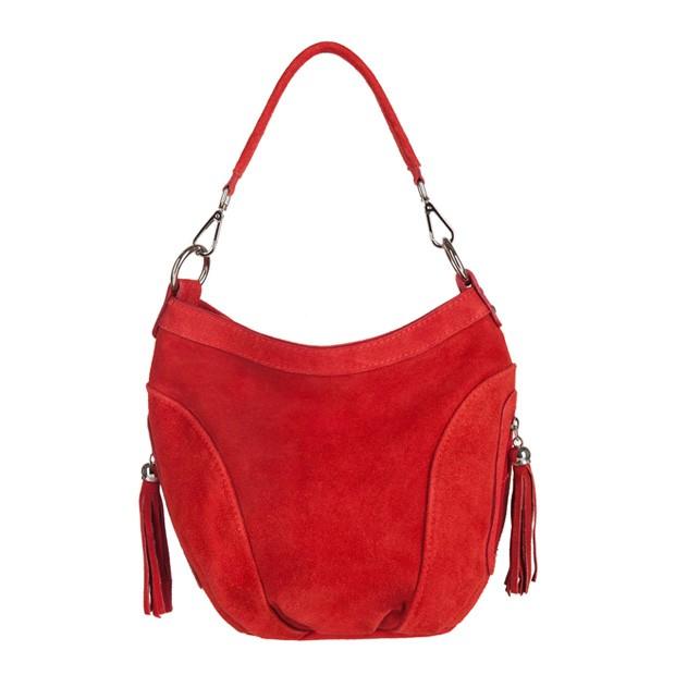 Włoska torebka worek zamsz naturalny czerwona (2806)