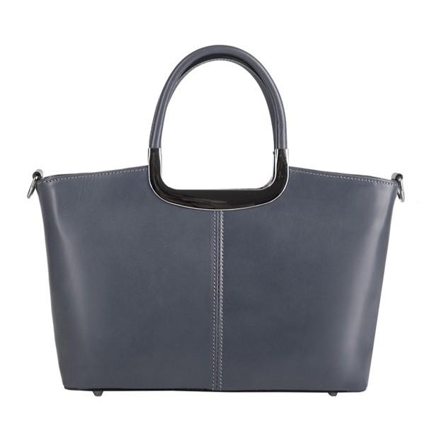 Klasyczna włoska skórzana torebka do ręki średnia grafitowa (2826)