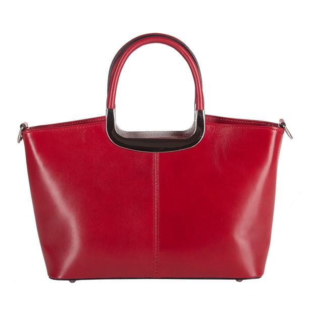 Klasyczna włoska skórzana torebka do ręki średnia czerwona (2827)
