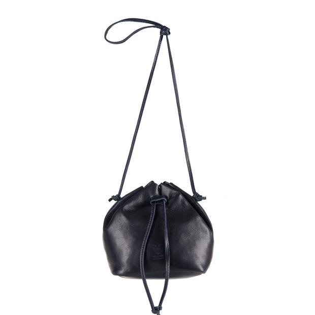Vera Pelle - Włoska torebka mały worek miękka skóra granatowa (2875)