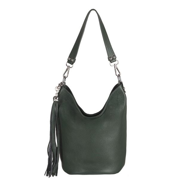 Włoska torebka mały worek miękka skóra butelkowy zielony (2885)