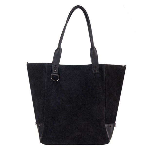 Włoska torebka worek A4 zamsz naturalny czarna (2889)
