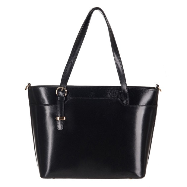 Włoska klasyczna torebka skórzana czarna (2961)