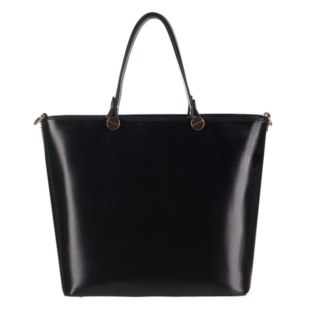 Włoska klasyczna torebka skórzana czarna (2974)