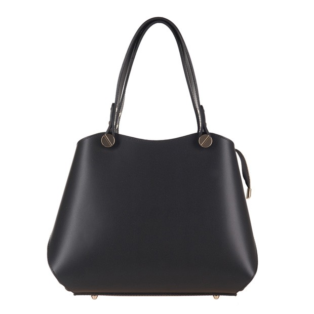 Vera Pelle - Włoska elegancka torebka kuferek matowa skóra czarna (2977)