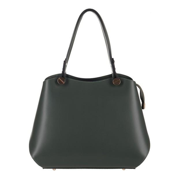 Vera Pelle - Włoska elegancka torebka kuferek matowa skóra butelkowa zieleń (2981)
