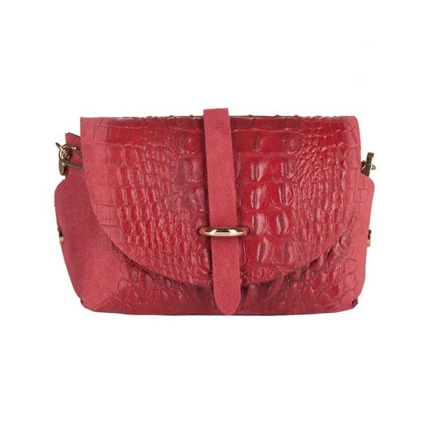 Włoska mała torebka listonoszka zamsz+krokodyl czerwona (3002)