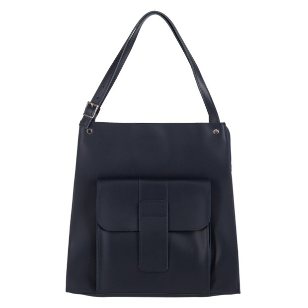 Włoska duża torebka shopper bag A4 matowa skóra granatowa (3017)