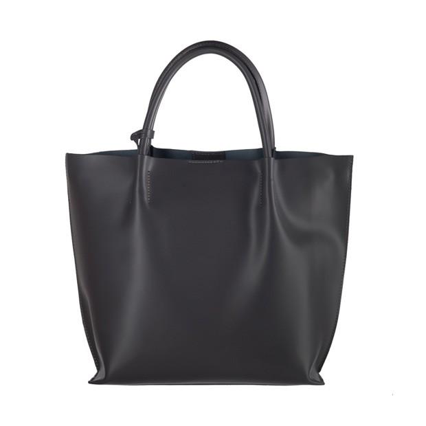 Włoska duża torebka shopper bag matowa skóra grafitowa (3041)