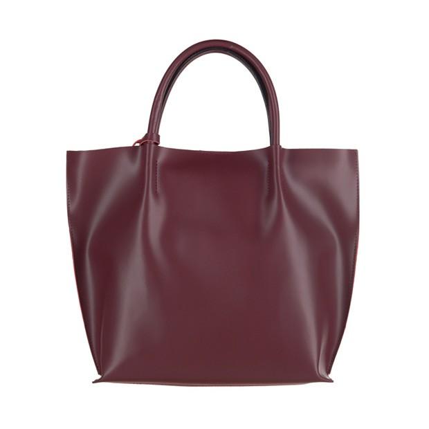 Włoska duża torebka shopper bag matowa skóra bordowa (3042)
