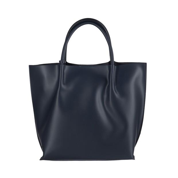 Włoska duża torebka shopper bag matowa skóra granatowa (3043)