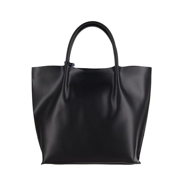 Włoska duża torebka shopper bag matowa skóra czarna (3044)