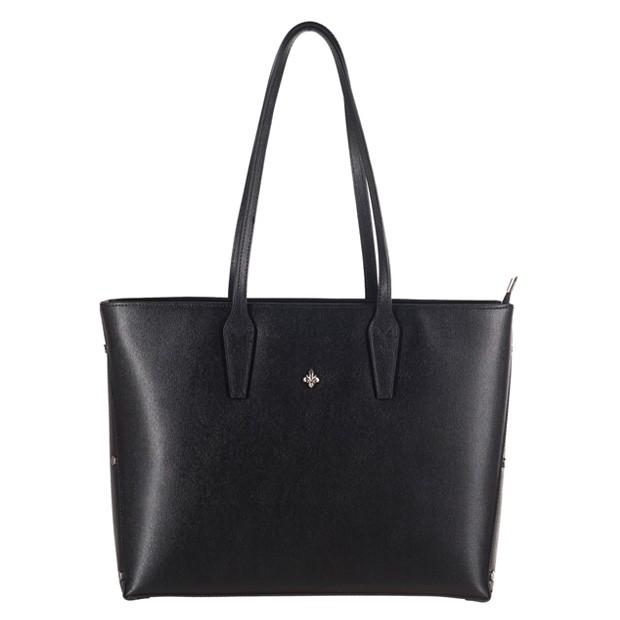 Włoska klasyczna torebka A4 skóra saffiano czarna (3048)