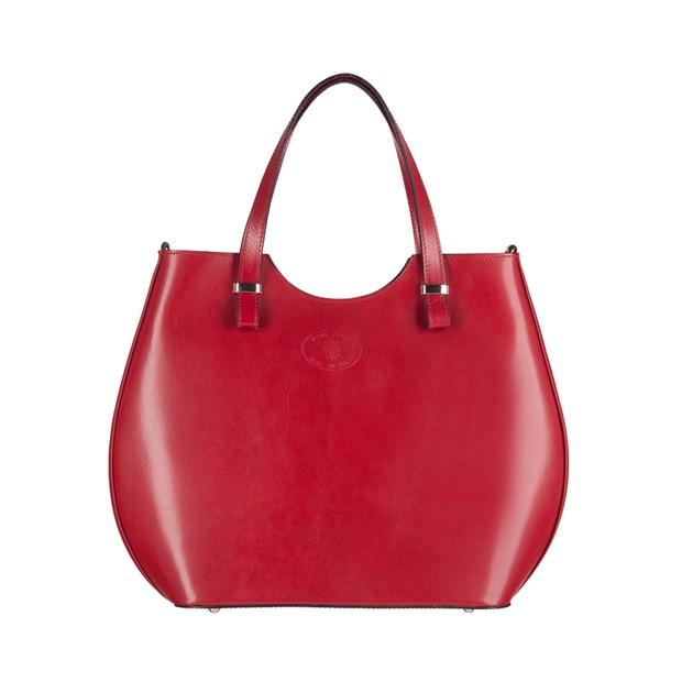 Włoska torebka shopper bag gładka skóra srebrne okucia czerwona (3075)