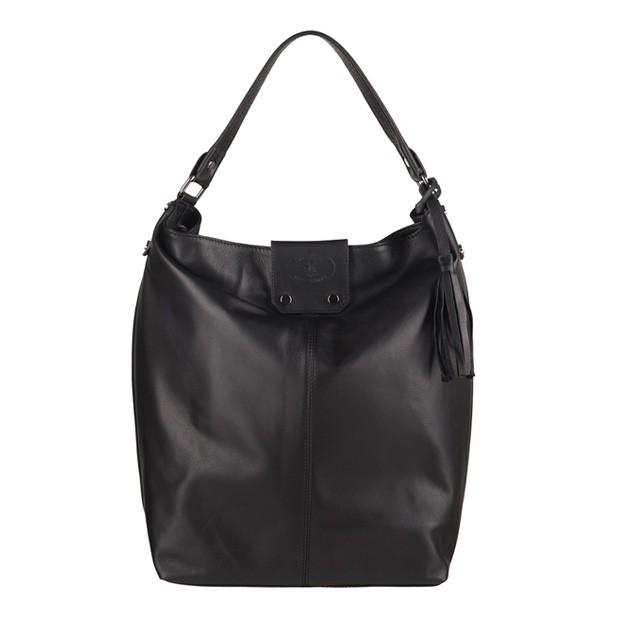 Włoska skórzana torebka A4 worek z frędzlami czarna (3065)