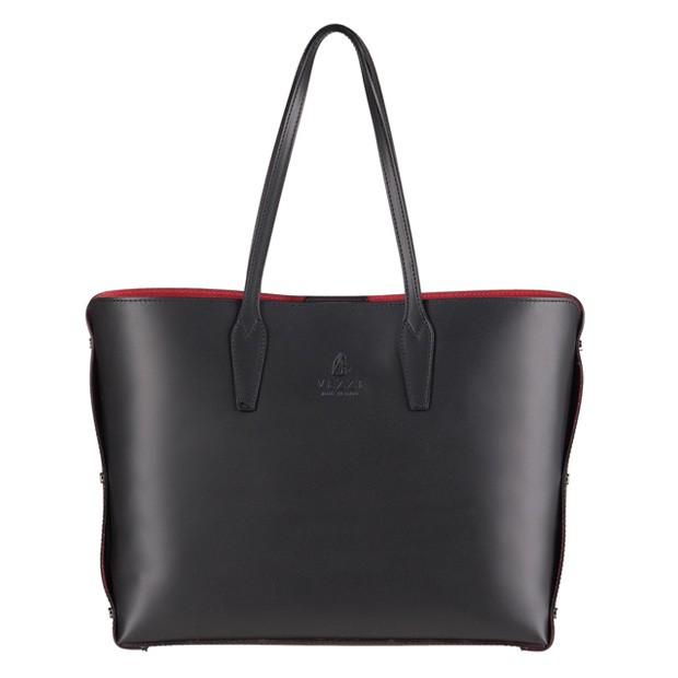 Vezze - Włoska klasyczna torebka skórzana czarna (3073)