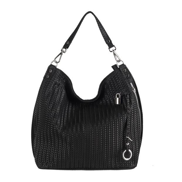 Włoska skórzana torebka worek czarna (3082)