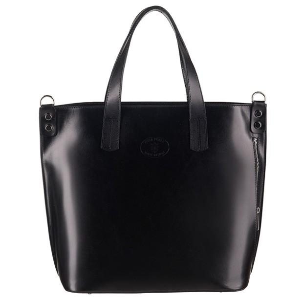 Vera Pelle - Włoska duża klasyczna torebka skórzana A4 czarna (3096)