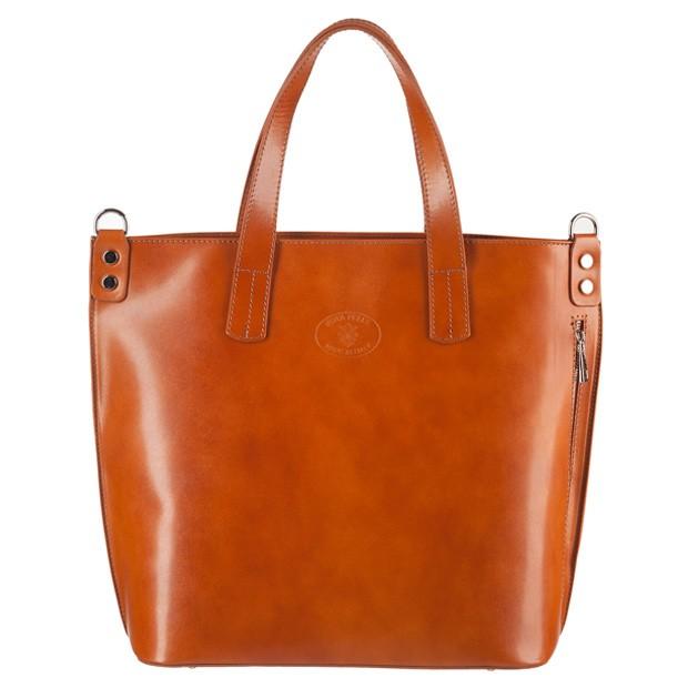 Vera Pelle -  Włoska duża klasyczna torebka skórzana A4 camel (3098)