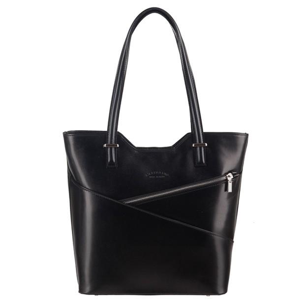 Włoska klasyczna torebka skórzana czarna (3103)