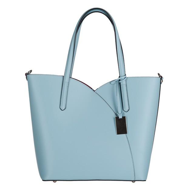 Włoska klasyczna torebka skóra matowa jasnoniebieska (3106)