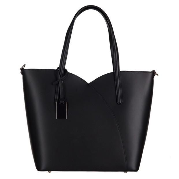 Włoska klasyczna torebka skóra matowa czarna (3108)