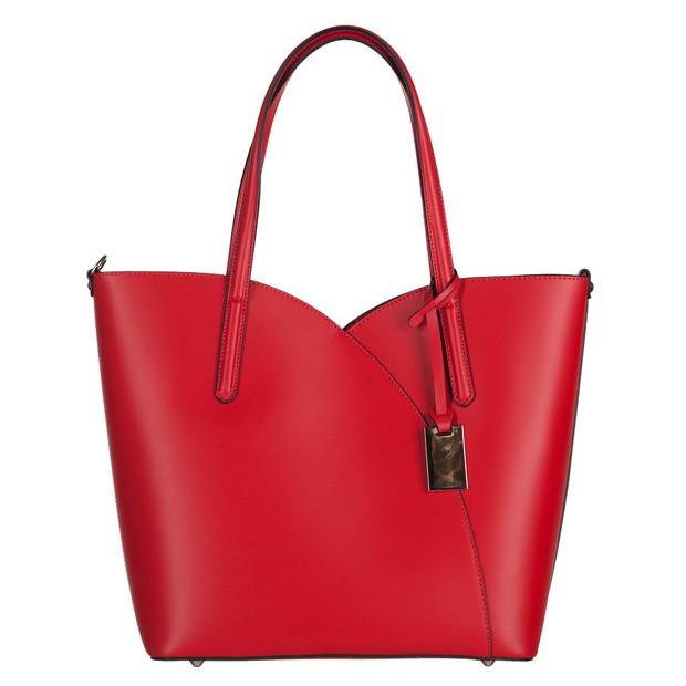 Włoska klasyczna torebka skóra matowa czerwona (3109)